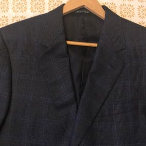 Canali Italian Men's Suit Jacket Navy Plaid 44R